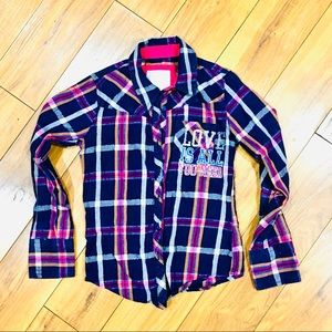 Justice flannel shirt top girls size 8